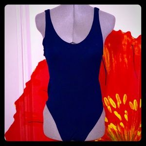 Dark blue vintage nylon body suit